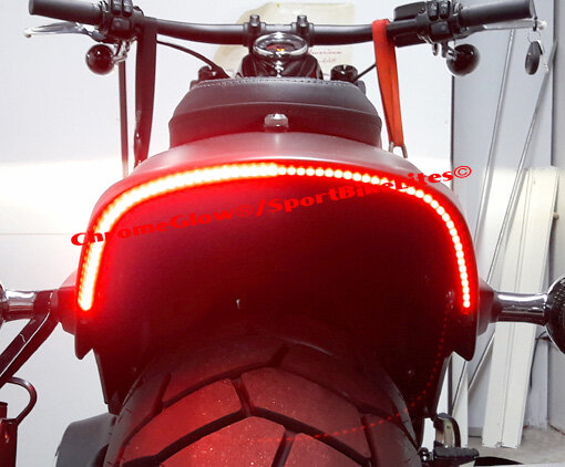 H-D Fat Bob 2018 and up Under-the-Fender LED Taillight and Turn Signals; Smoke