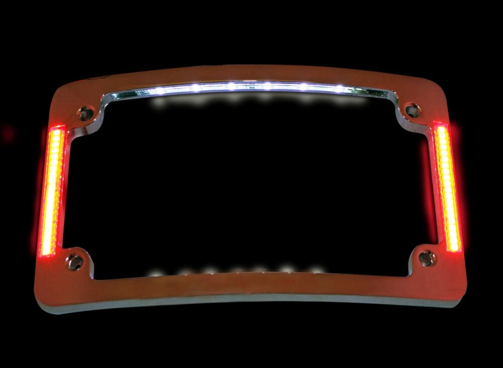 Curved Motorcycle License Plate Frame Chrome