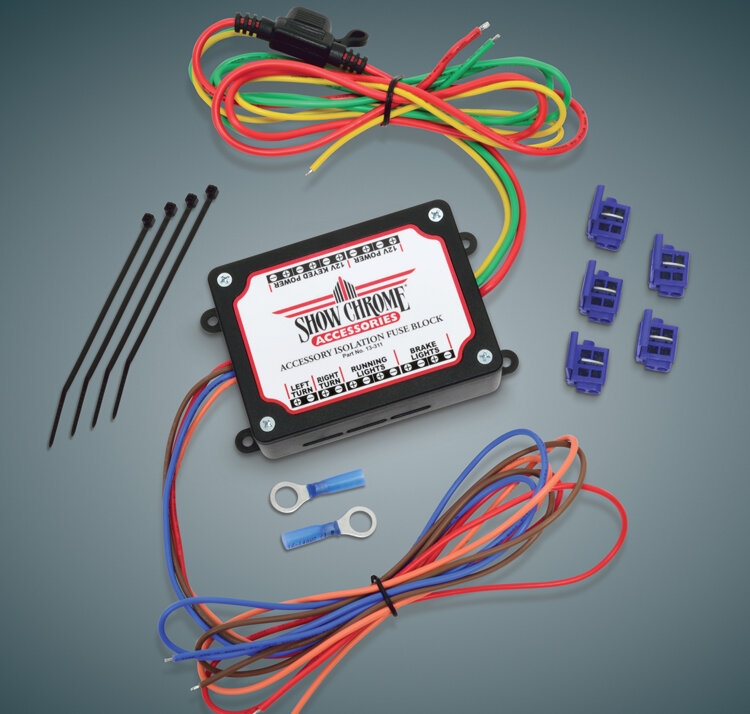 Motorcycle Electronic Fuse Block and Accessory Wiring PortChrome Glow