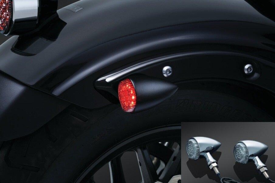 Bullet Chrome Motorcycle LED Turn Signals Light Amber Brake Running Tail Lights